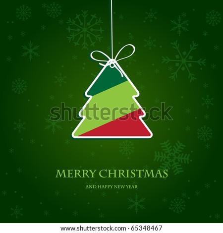Vintage holiday card with christmas tree. Paper striped christmas tree on dark green snowflake background. Vector illustration for christmas poster, card, t-shirt or web. - stock vector