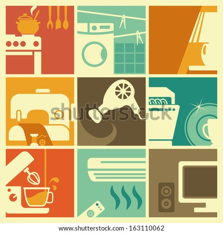 Vintage home appliances icons - stock vector