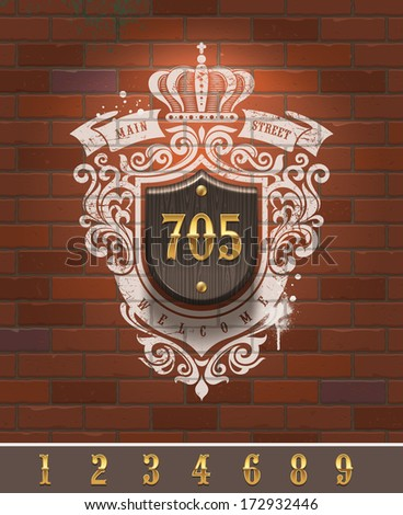 Vintage home number sign with painted heraldic on brick wall - vector illustration - stock vector