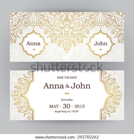 Vintage horizontal cards in oriental style. Eastern floral decor. Template frame for birthday and greeting card, wedding invitation. Vector golden border with place for text. Easy to use, layered. - stock vector