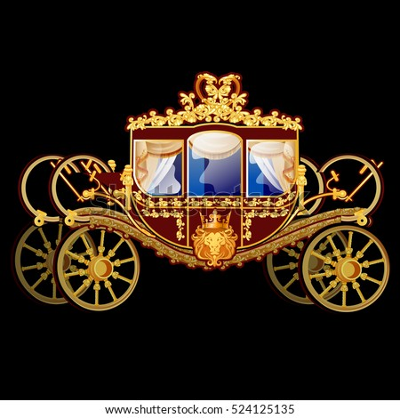 Vintage Horse Carriage Golden Florid Ornament Stock Vector ...