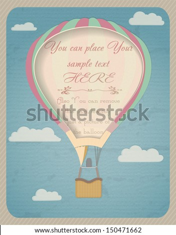 Vintage hot air balloon in the sky from paper, with place for text on it. - stock vector