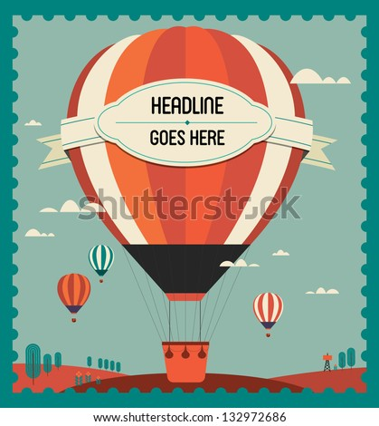 vintage hot air balloon in the sky vector/illustration /background/greeting card/ poster template - stock vector