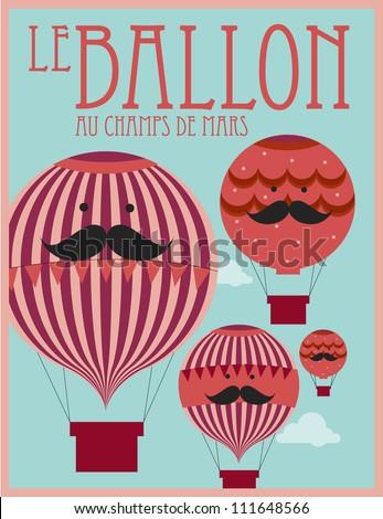 vintage hot air balloon poster template vector/illustration - stock vector