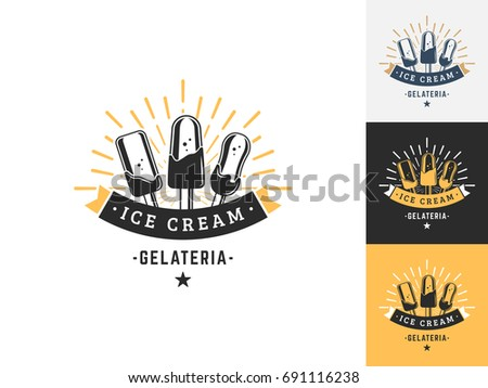 Vintage Ice Cream Logo Design Template Stock Vector 691116238 ...