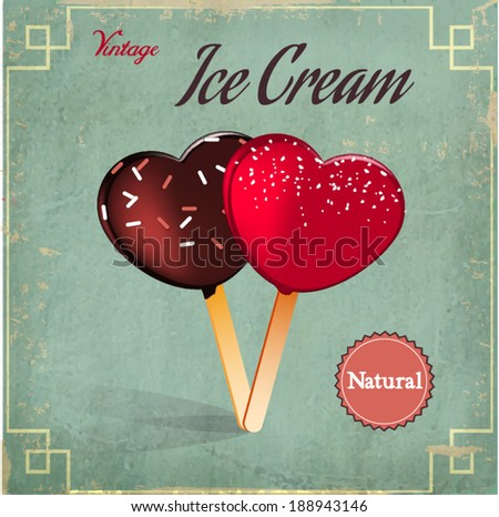 Vintage Ice Cream Poster. Vector illustration. - stock vector
