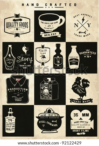 vintage icon label collection - stock vector