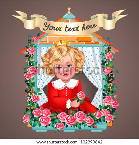 Vintage illustration  Little princess in window - stock vector