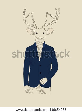 Vintage illustration of a deer with a large pair of antlers dressed in an elegant suit - stock vector