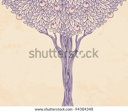 Vintage illustration of a tree - stock vector