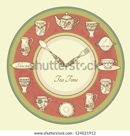 Vintage illustration of clock with teapot and cups and text Tea Time - stock vector