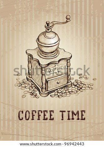 Vintage illustration of coffee grinder - stock vector