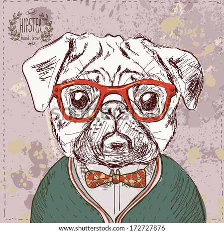Vintage illustration of hipster pug dog with glasses and bow in vector on vintage background,  vector illustration hand drawn with textured background - stock vector