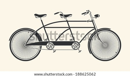 Vintage Illustration of tandem bicycle over white background - stock vector