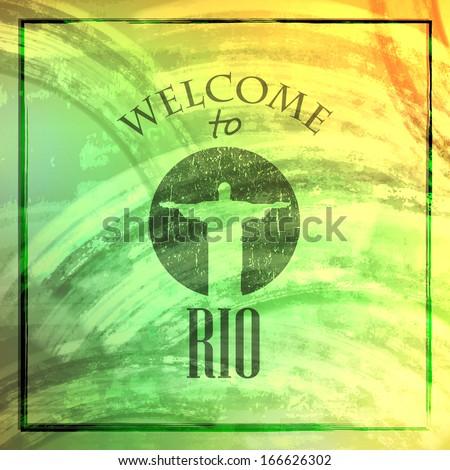 vintage illustration with christ the redeemer statue. brazilian landmark. travel concept. welcome to Rio de janeiro - stock vector