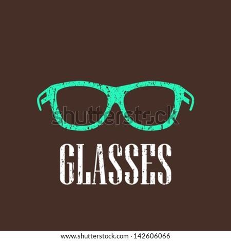 vintage illustration with eyeglasses - stock vector