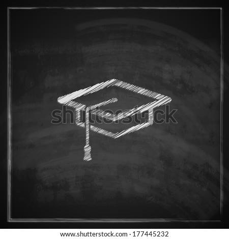 vintage illustration with graduation cap sign on blackboard background. educational concept - stock vector