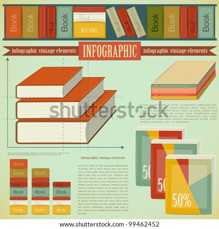 Vintage infographics set - Book icons and elements for presentation and graph - vector illustration - stock vector