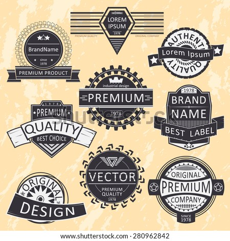 Vintage insignias, logotypes set. Vector design, grunge background. - stock vector