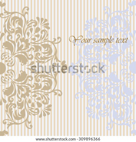Vintage Invitation Background with floral classic ornaments. Vector - stock vector