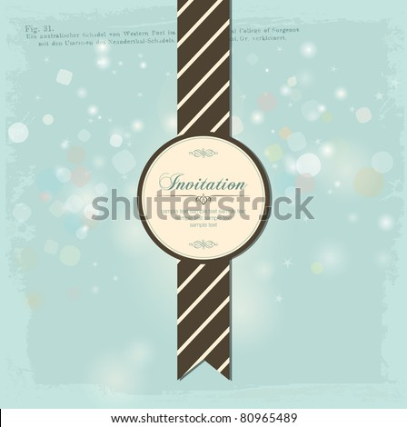 Vintage Invitation Card Design. A Beautiful Label with Baubles. - stock vector