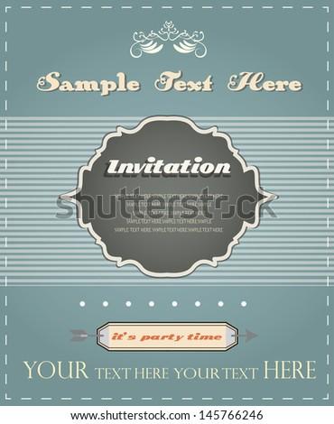 vintage invitation card, retro design, announcement - stock vector