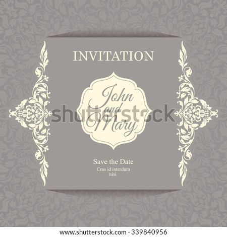 Vintage invitation card template. Elegant luxury floral card. Save the date card. - stock vector