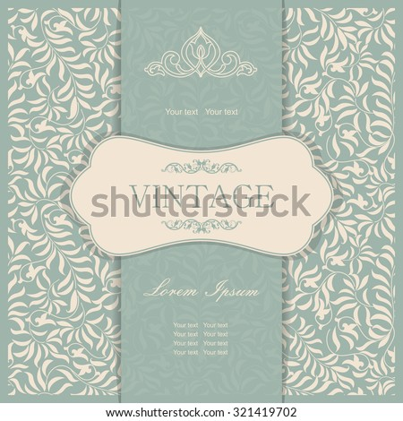 Vintage invitation card with damask ornaments in green and beige