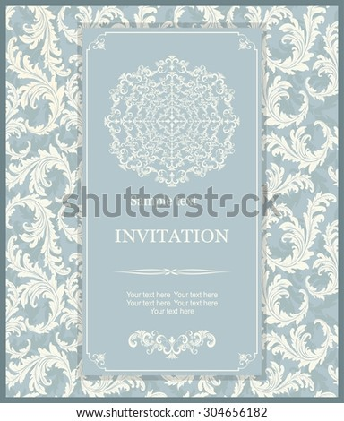 vintage invitation card with floral pattern