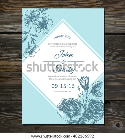 Vintage invitation card with hand drawn flowers: roses and cherry blossom. Vector illustration