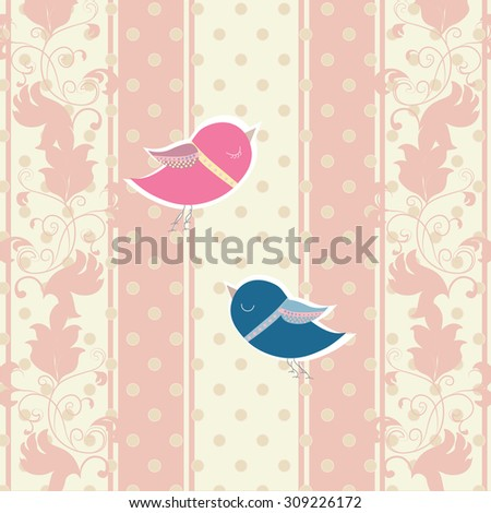 Vintage Invitation card with Two pigeons for  wedding ceremony. Vector in pink - stock vector