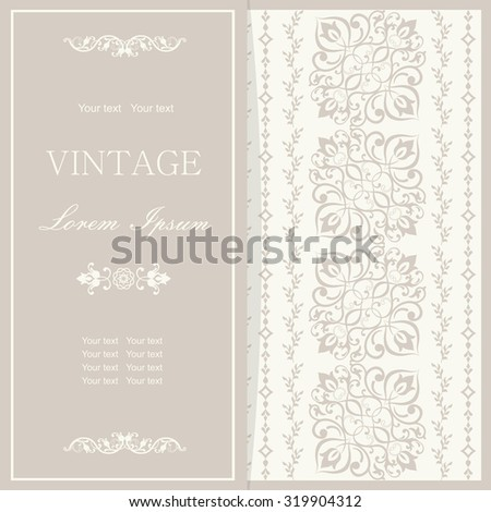 Vintage invitation card with Victorian ornaments in pastel