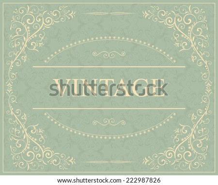 vintage invitation card with victorian pattern - stock vector