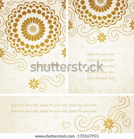 Vintage invitation cards large flowers curls stock vector vintage invitation cards with large flowers and curls template frame design for greeting and wedding stopboris Gallery