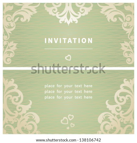Vintage invitation cards with retro ornament. Template frame design for card. You can place your text in the empty place. - stock vector