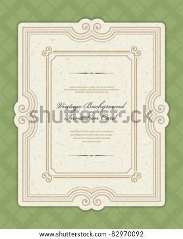 Vintage invitation greeting card with ornament and old textured pattern. Vector background Eps 10. - stock vector