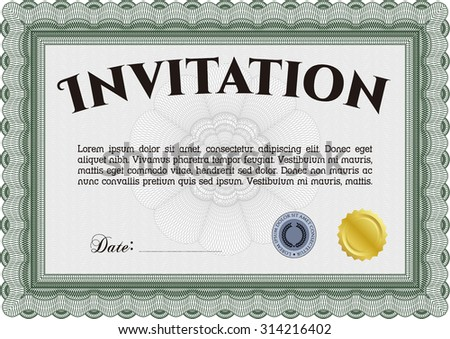Vintage invitation. Lovely design. Customizable, Easy to edit and change colors.Easy to print.  - stock vector