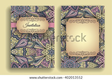 Vintage Invitation Template Boho Flower Pattern Stock Vector