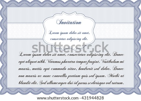 Vintage Invitation Template Guilloche Pattern Retro Stock Vector