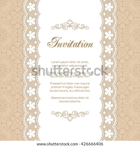 Vintage invitation template with lacy doily on seamless background. Retro style vector illustration - stock vector