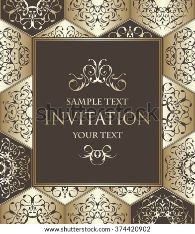 Vintage invitation with diamond ornament. Vector jewelry seamless pattern. Luxury design. Can be used as invitation card