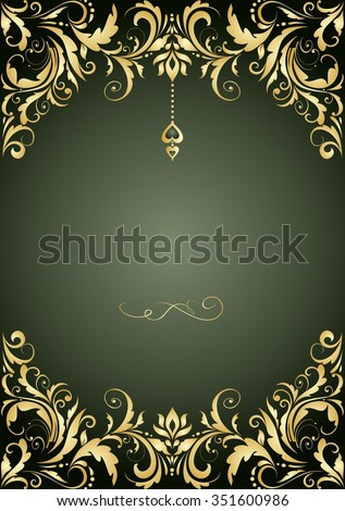 Vintage invitation with floral pattern - stock vector