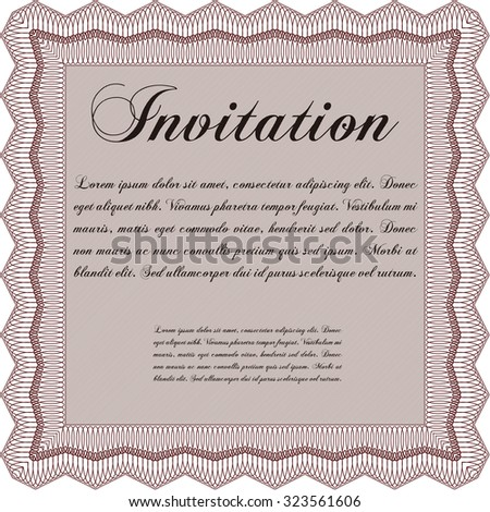 Vintage invitation. With guilloche pattern. Detailed.Excellent complex design.  - stock vector