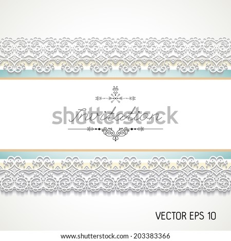 Vintage invitation with lace , vector
