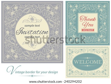 Vintage invitations and frames. Vector banners with floral pattern and  inscriptions  at retro style - stock vector