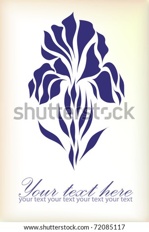 Vintage iris vector hand drawing isolated on pastel background with your text (eps 10) - stock vector