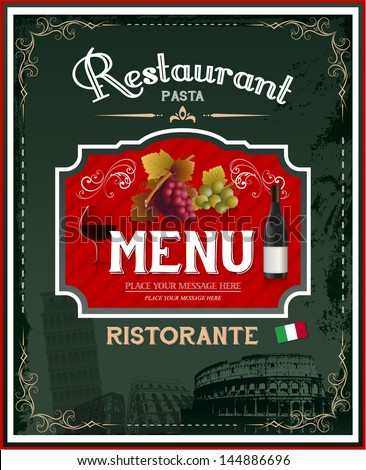 Vintage italian restaurant menu and poster design - stock vector