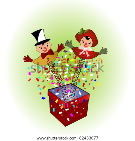 Vintage Jack-in-the-box christmas surprise - stock vector