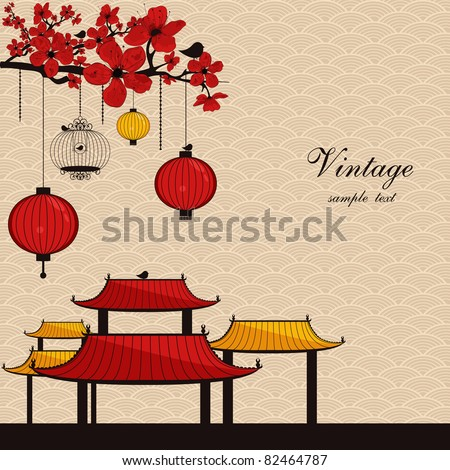 vintage japanese style background - stock vector