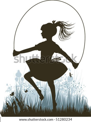 Vintage jumping girl - stock vector